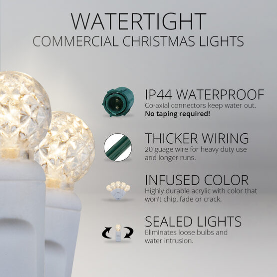 G12 Commercial LED String Lights, Warm White, White Wire