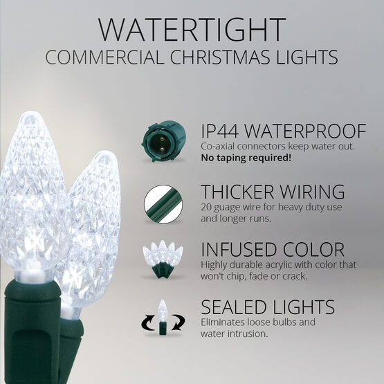 C6 Commercial LED String Lights, Cool White, Green Wire