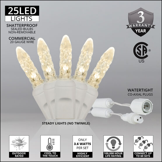 M5 Commercial LED String Lights, Warm White, White Wire