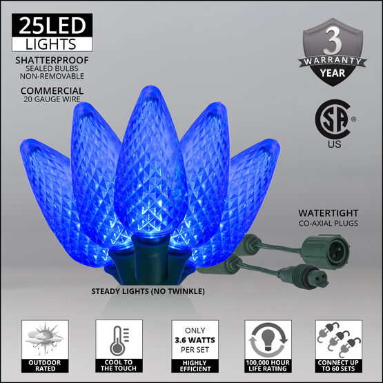 C9 Commercial LED String Lights, Sapphire Blue, Green Wire