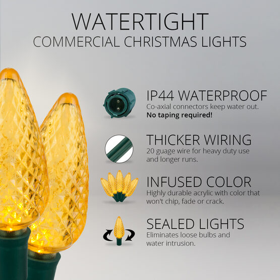 C9 Commercial LED String Lights, Gold, Green Wire