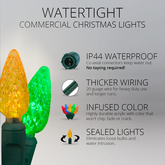 C6 Commercial LED String Lights, Multicolor, Green Wire