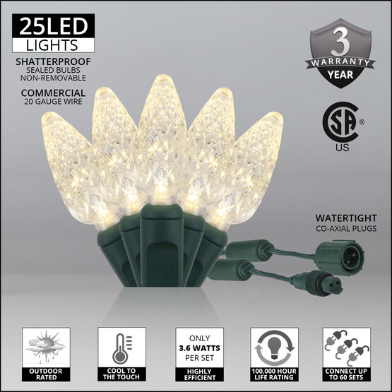 C6 Commercial LED String Lights, Warm White, Green Wire