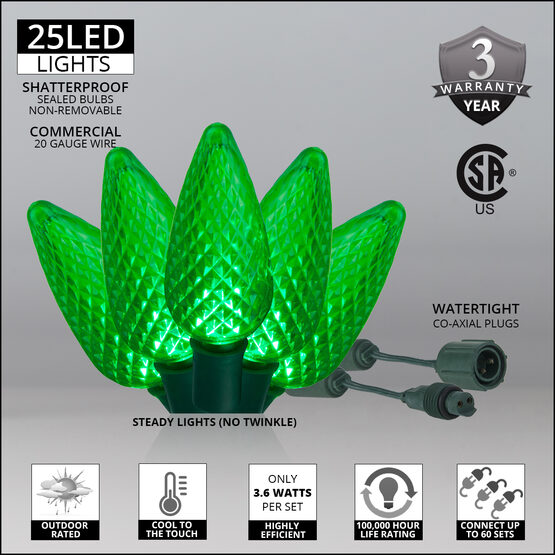 C9 Commercial LED String Lights, Green, Green Wire