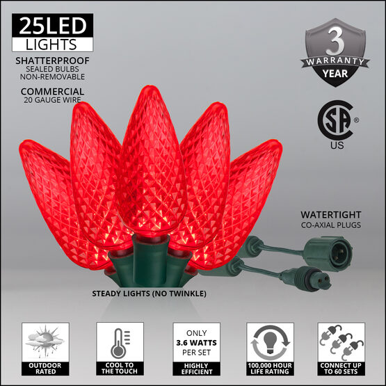 C9 Commercial LED String Lights, Red, Green Wire
