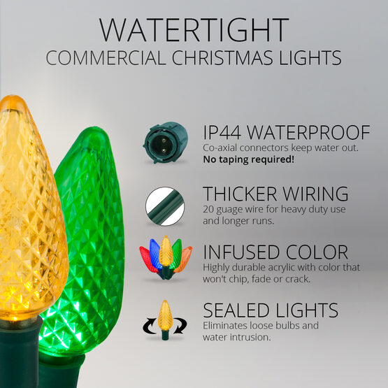 C9 Commercial LED String Lights, Multicolor, Green Wire