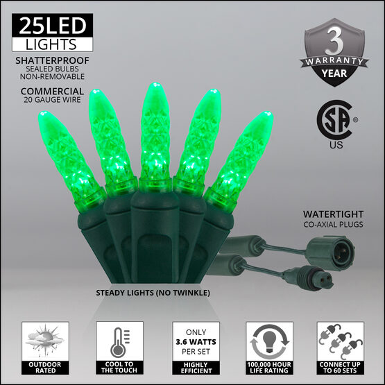 M5 Commercial LED String Lights, Green, Green Wire