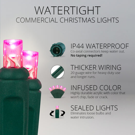 5mm Commercial LED String Lights, Pink, Green Wire