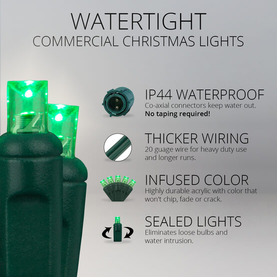5mm Commercial LED String Lights, Green, Green Wire