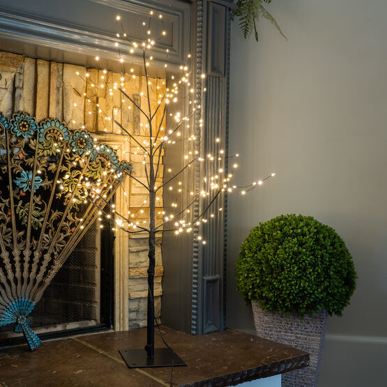 3' Black Fairy Light Tree, Warm White LED Lights