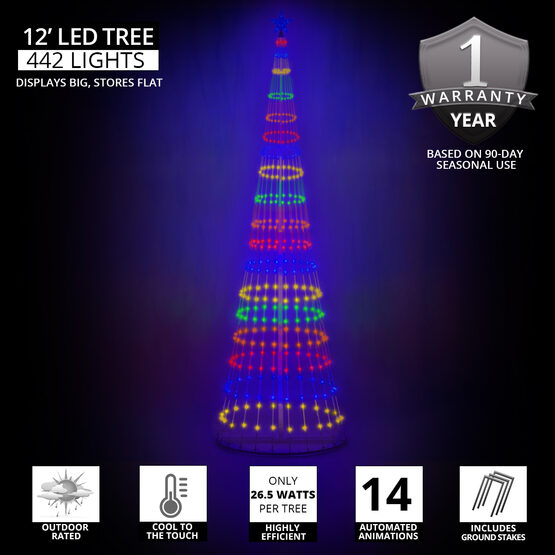12' Multicolor LED Animated Outdoor Lightshow Tree