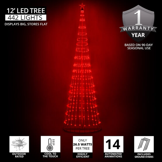 12' Red LED Animated Outdoor Lightshow Tree
