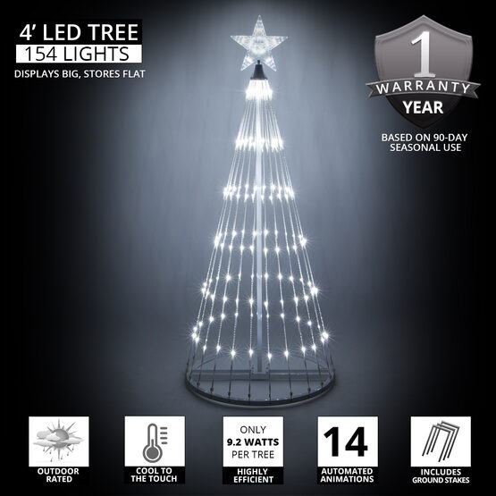 4' Cool White LED Animated Outdoor Lightshow Tree