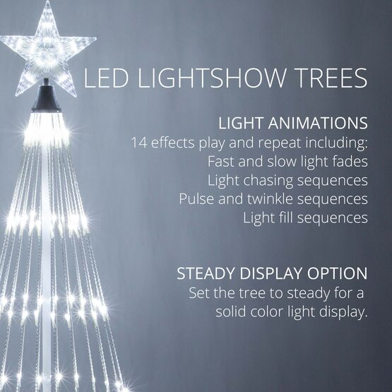 9' Cool White LED Animated Outdoor Lightshow Tree