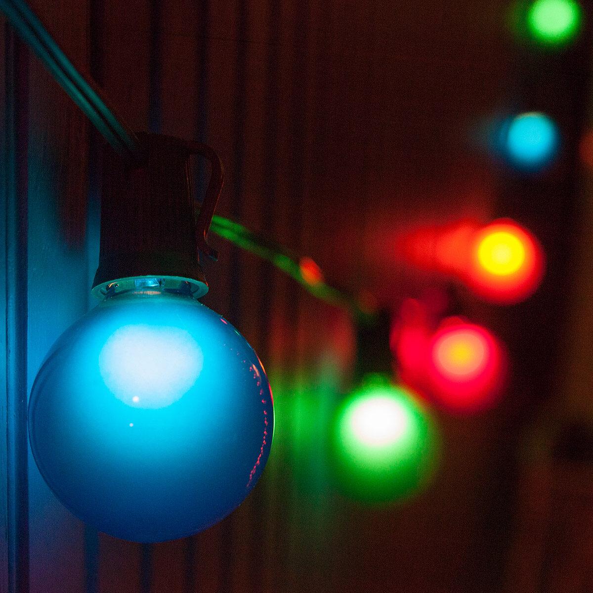 G50 Multicolor Satin Globe Lights on Black Wire