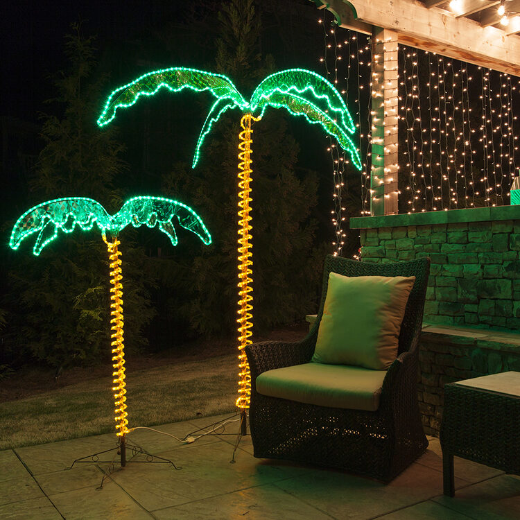 tropical outdoor lighting. place rope light palm trees around a backyard bar to create tropical paradise party atmosphere outdoor lighting