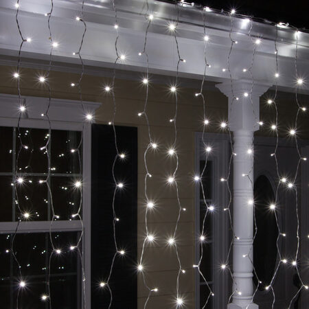 LED curtain lights can hang over windows or decks and patios