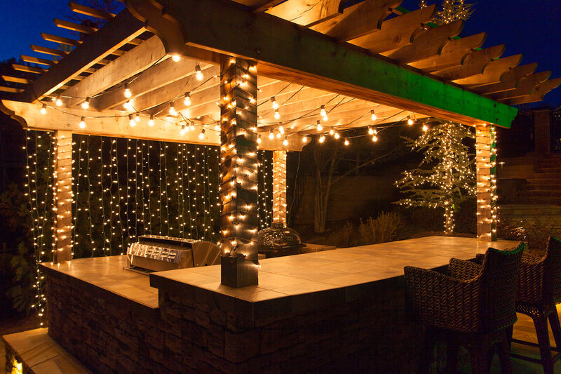 deck lighting ideas to hang patio lights white mini lights and wrap columns - Deck Lighting Ideas