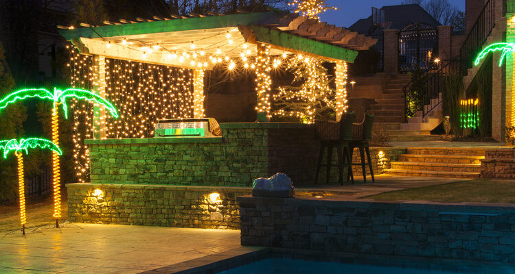 pergola party patio lights ideas - hang light strings and patio lights - Perk Up Your Party With Pergola Lighting - Yard Envy