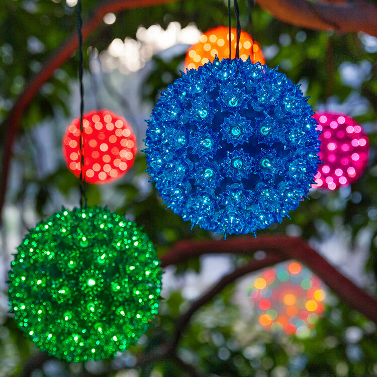 Hang starlight spheres inside a pergola for unique party lighting!