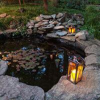 Place candle lanterns around a backyard pond to create elegant illumination.