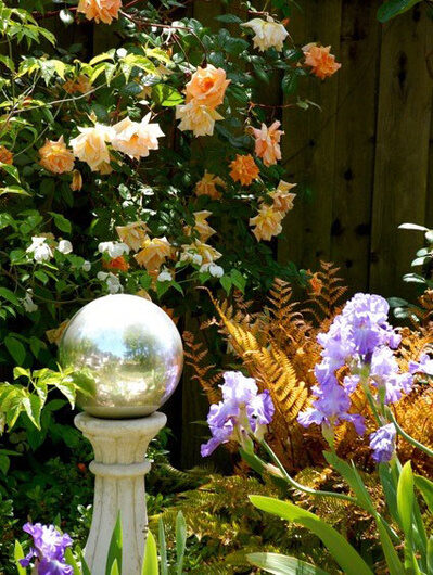 Gazing balls add eye catching light to the garden during the day and reflect the moon at night