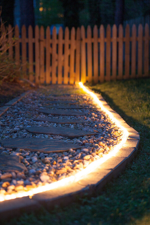 Pathway lighting ideas 101 - outline landscaping with rope light