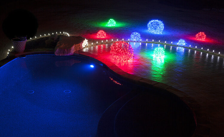 Pool party lights ideas - outline with stakes and light balls