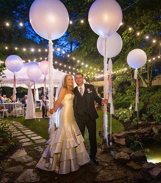 Backyard Wedding Lights Using Patio Lights