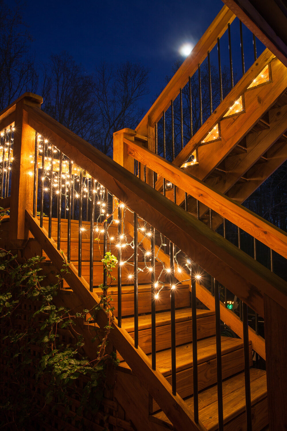 deck lighting idea for inspiration hang white lights along stairs
