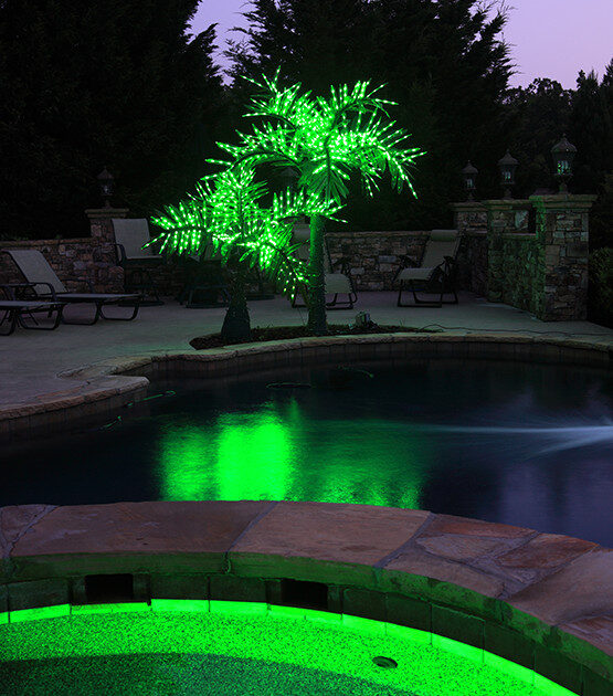 Commercial Lighted Palm Trees Including This LED Realistic Palm. Features  Include Green Lighted Canopy, UV Protection, For Indoor / Outdoor Use.