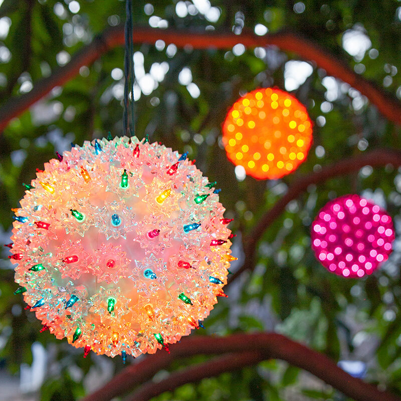 Hang Starlight Spheres from Light Wrapped Trees