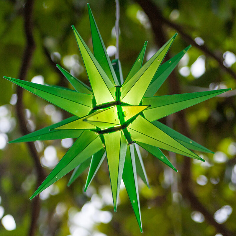 Hang Moravian Stars from Light Wrapped Trees