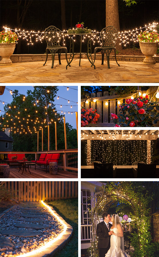 Patio lights yard envy patio lighting ideas and string lights designs to transform your outdoor living spaces aloadofball Choice Image
