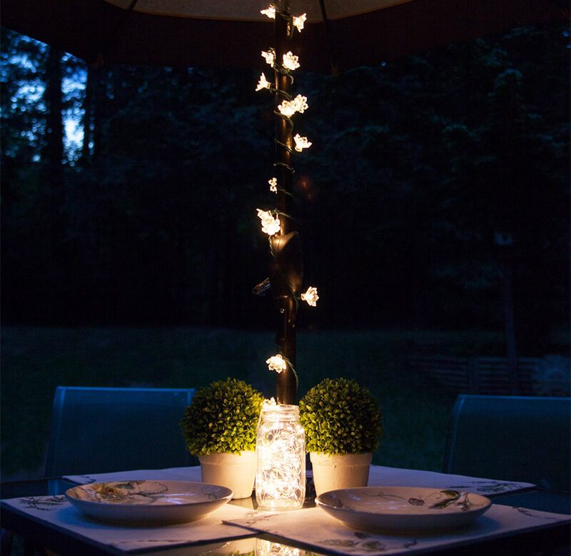Umbrella Lights Illuminate a Backyard Dinner Party