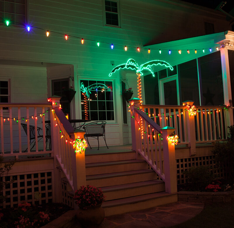 Backyard Deck Party Lights With LED Globe Lights and Chili Pepper String Lights.