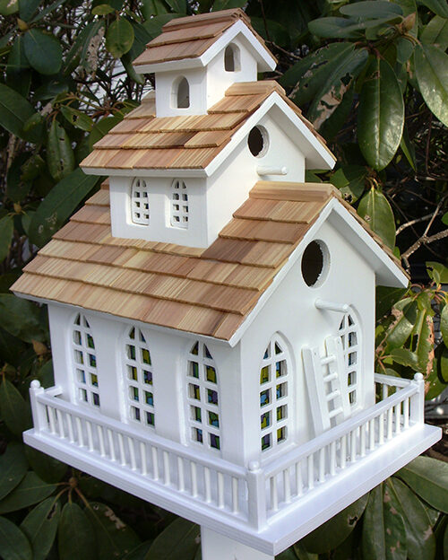 Chapel Bell White Bird House