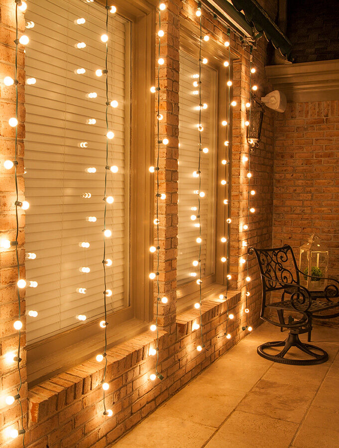 DIY Curtain Lights Made with Patio String Lights!
