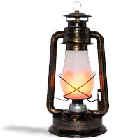Antiqued Copper Digital Flame LED Lantern
