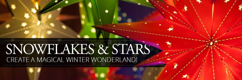 Lighted Snowflakes & Stars
