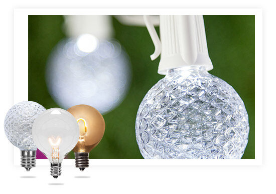 Globe Bulbs on White String Lights