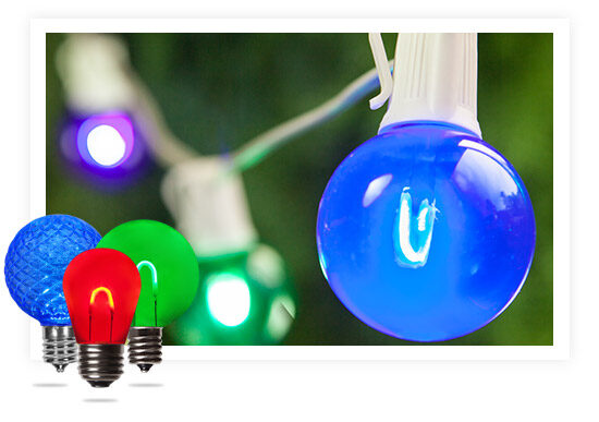 Colored Bulbs on White String Lights