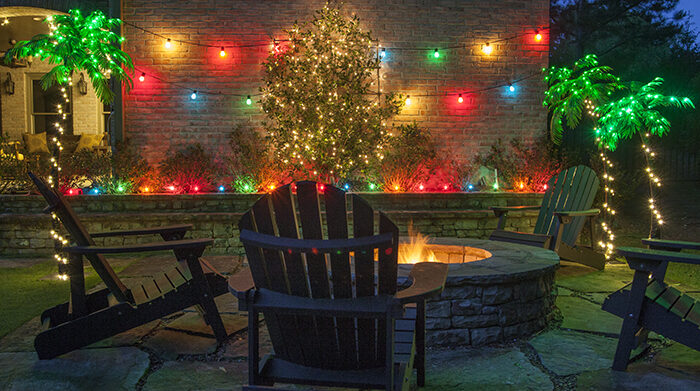 Outdoor Party with Lighted Palm Trees