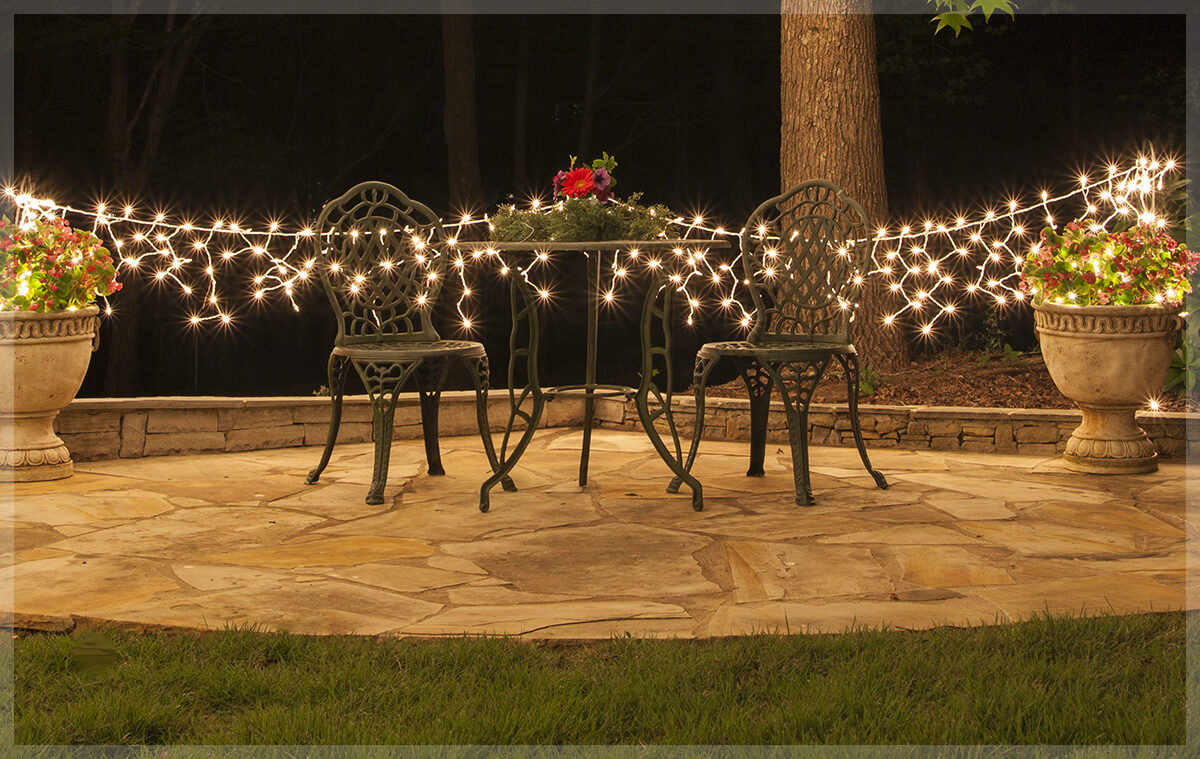 Icicle Lights in Outdoor Garden Seating Area