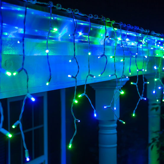 Blue & Green Icicle Lights
