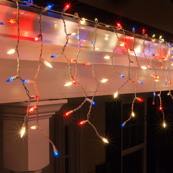 red white and blue icicle lights