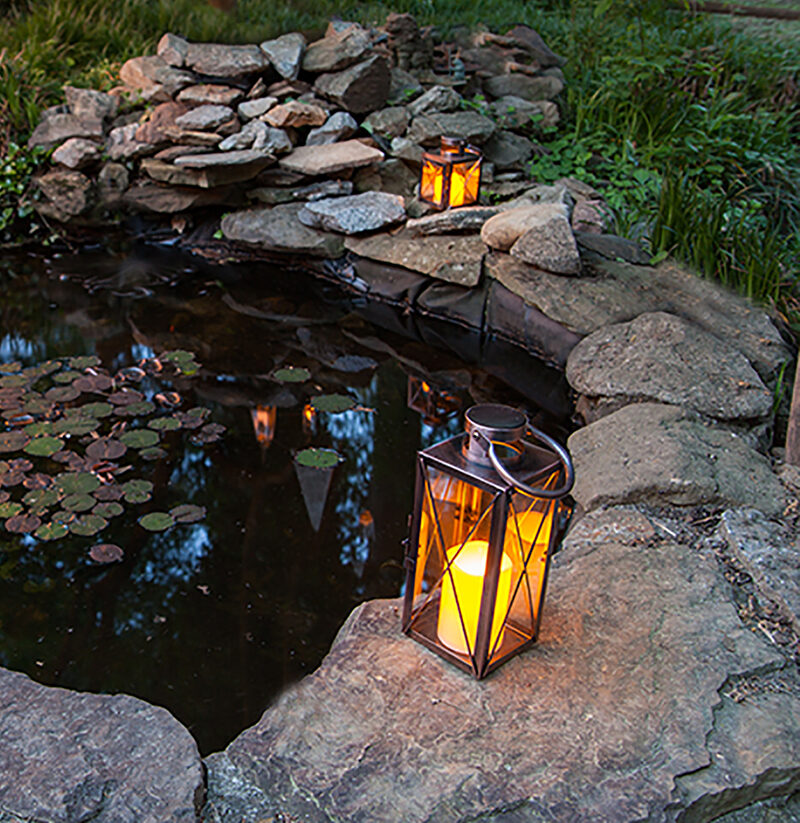 Lanterns Surrounding a Garden Pond