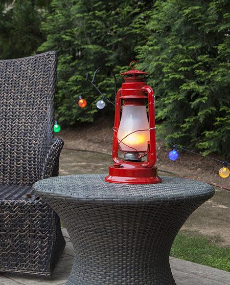 LED Candle Lantern On Outside Patio