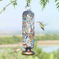 Sprinkles Multicolor Filigree Glass Hummingbird Feeder