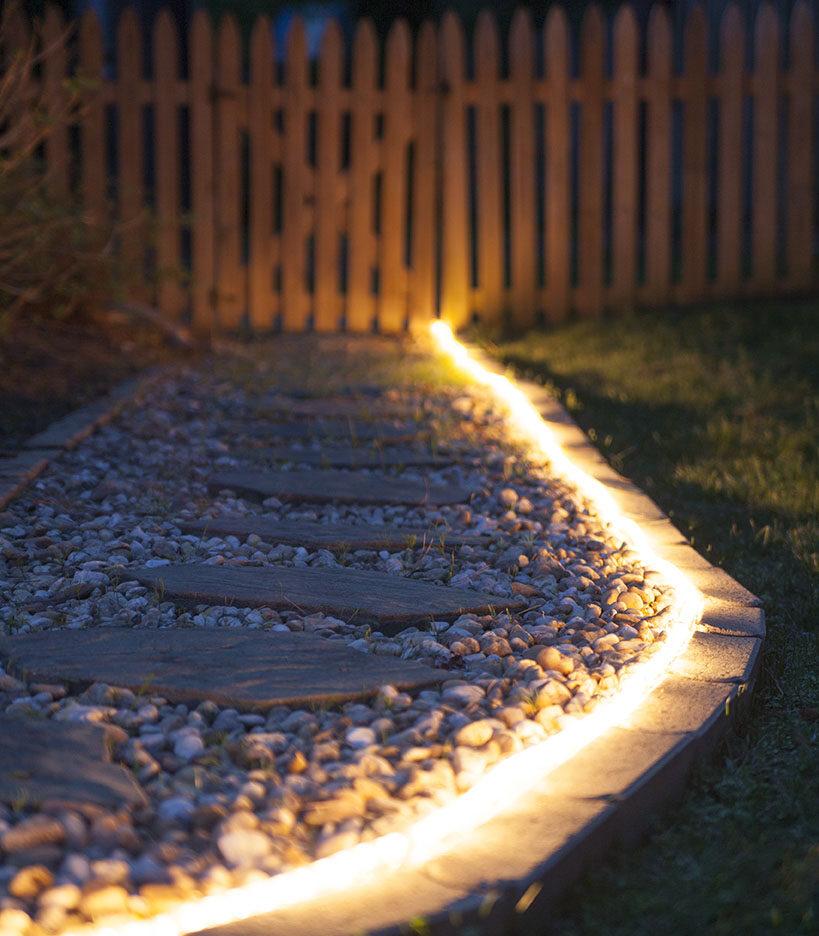 Rope Light Illuminates a Garden Path